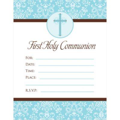 Blue First Communion Invitations 20ct