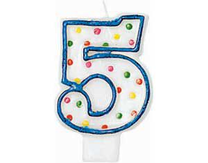 Blue Outline Polka Dot Number 5 Candle