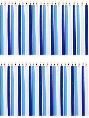 Tall Blue & White Hanukkah Candles 45ct