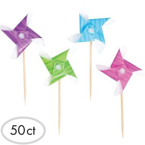 Multicolor Jewel Tone Pinwheel Party Picks 50ct