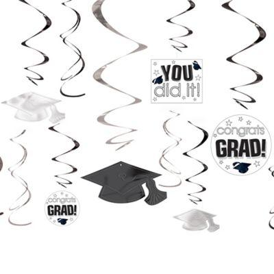 White Graduation Swirl Decorations 12ct
