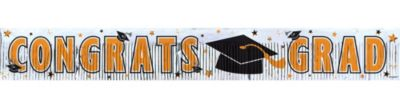 Orange Foil Fringe Graduation Banner