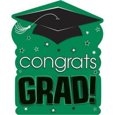 Green Congrats Grad Cutout