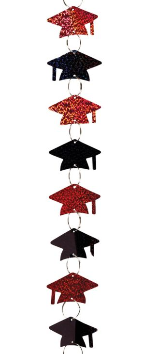 Black & Red Cap Graduation Ring Garland