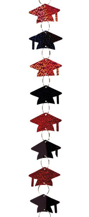 Black & Red Cap Graduation Ring Garland