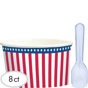 American Flag Ice Cream Cups with Spoons 8ct