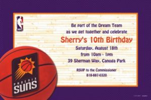 Custom Phoenix Suns Invitations