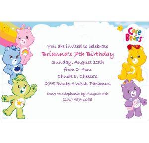 Custom Care Bears Invitations