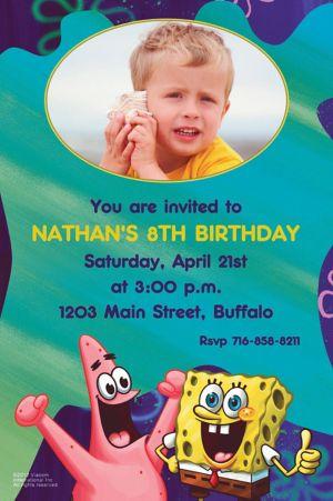 Custom Sponge Bob Classic Photo Invitations