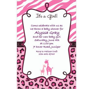 Custom Pink Safari Baby Shower Invitations