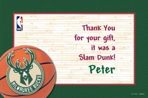 Custom Milwaukee Bucks Thank You Notes