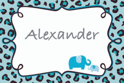Custom Blue Safari Baby Shower Thank You Notes