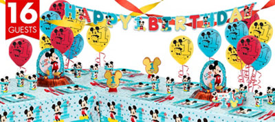 1st Birthday Mickey Mouse Deluxe Party Kit for 16 Guests