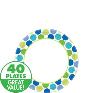 Blue Dots Dessert Plates 40ct