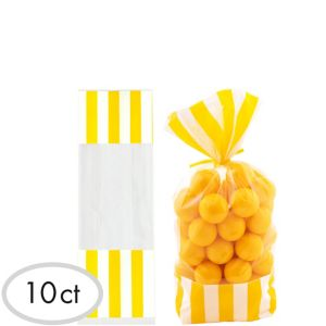 Yellow Striped Treat Bags 10ct