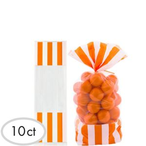 Orange Striped Treat Bags 10ct