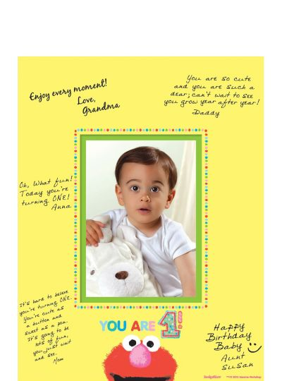 1st Birthday Sesame Street Autograph Photo Mat