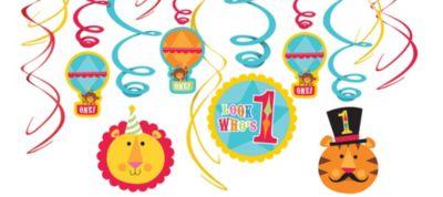 1st Birthday Fisher-Price Circus Swirl Decorations 12ct