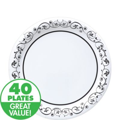 Fancy Scroll Heavy Duty Lunch Plates 40ct