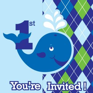 Ocean Preppy 1st Birthday Invitations 8ct