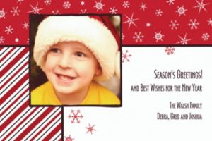 Custom Snowflakes on Red Christmas Photo Card