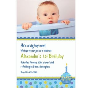 Custom Sweet Little Cupcake Boy Photo Invitations