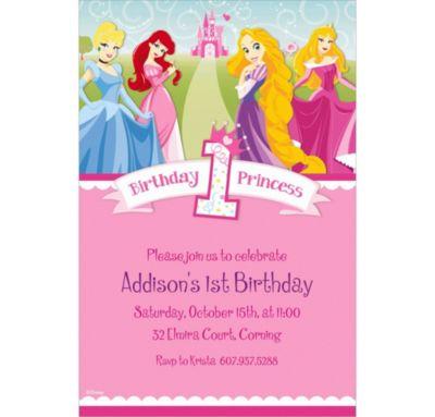Custom Disney Princess 1st Birthday Invitations