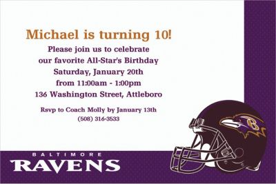 Custom Baltimore Ravens Invitations