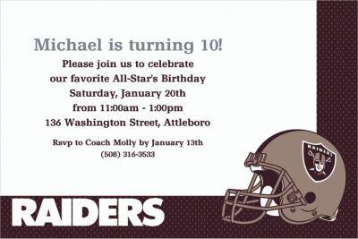 Custom Oakland Raiders Invitations