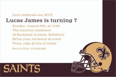 Custom New Orleans Saints Invitations