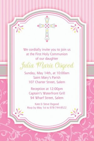 Custom Pink Communion Blessings Invitations