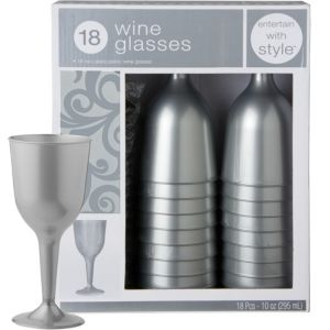 Silver Premium Plastic Wine Glasses 18ct