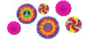 Tie-Dye 60s Paper Fan Decorations 6ct