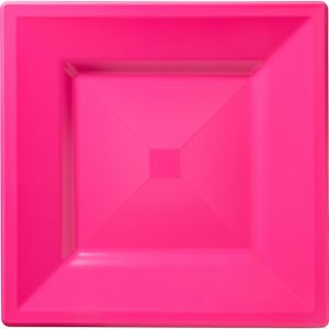 Bright Pink Premium Plastic Square Dinner Plates 10ct