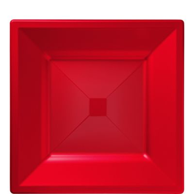 Red Premium Plastic Square Lunch Plates 10ct