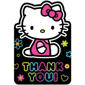 Neon Hello Kitty Thank You Notes 8ct
