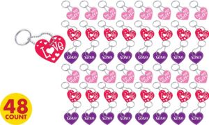 Conversation Heart Valentine's Day Key Chains 48ct