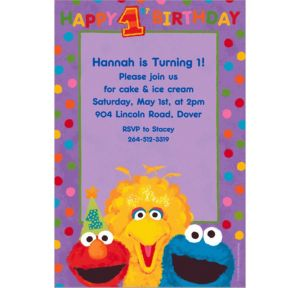 Custom Sesame 1st Birthday Invitations