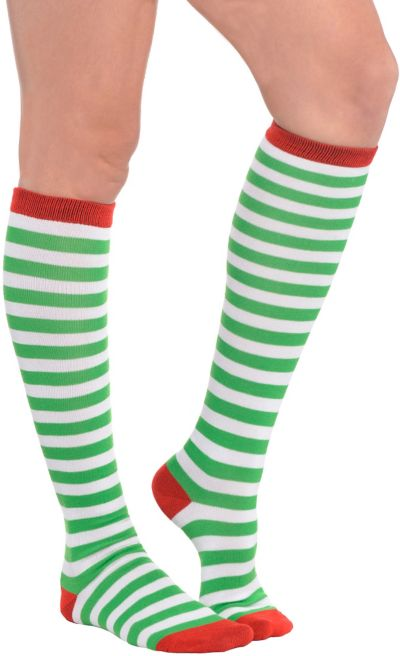 Green & White Striped Knee Socks