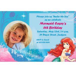 Custom Little Mermaid Ariel Photo Invitations