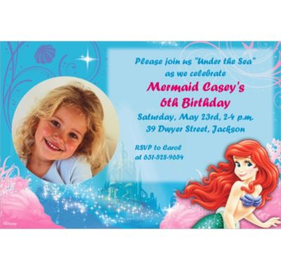 Custom Little Mermaid Ariel Photo Invitations