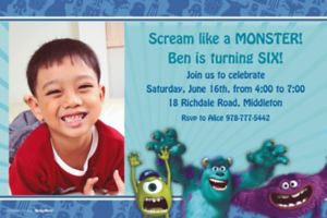 Custom Monsters University Photo Invitations