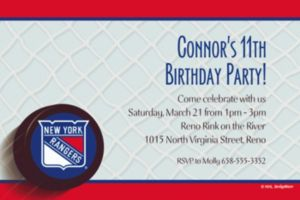 Custom New York Rangers Invitations