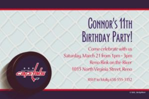 Custom Washington Capitals Invitations