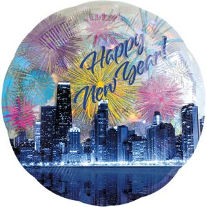 Happy New Year Balloon - Prismatic Skyline Fireworks