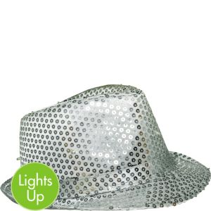 Light-Up Sequin Silver Fedora