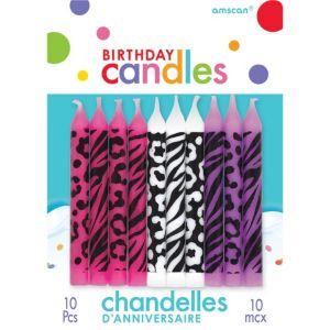 Animal Print Birthday Candles 10ct
