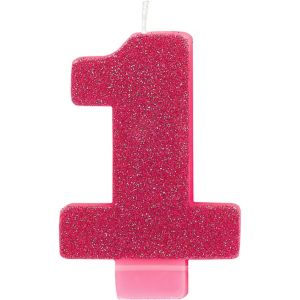 Glitter Bright Pink Number 1 Birthday Candle