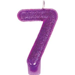 Glitter Purple Number 7 Birthday Candle