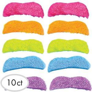 Multicolor 80s Moustaches 10ct